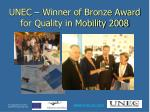 unec winner of bronze award for quality in mobility 2008