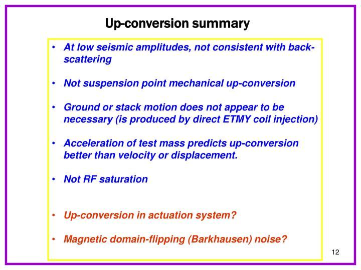 Up-conversion summary