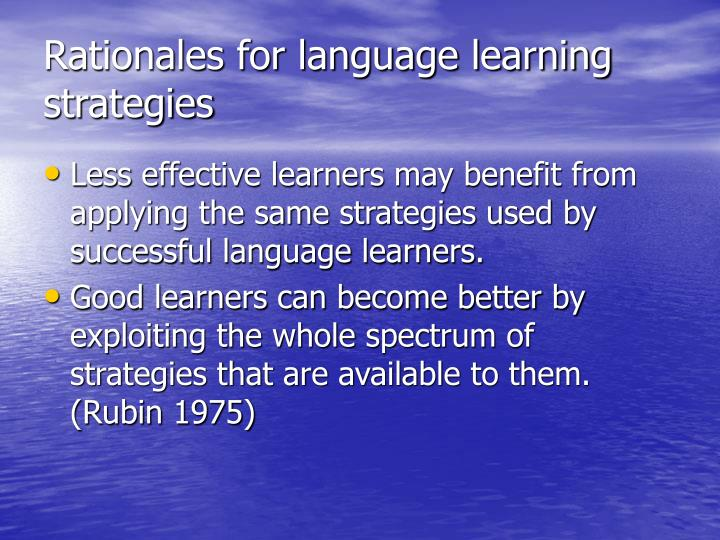 Rationales for language learning strategies