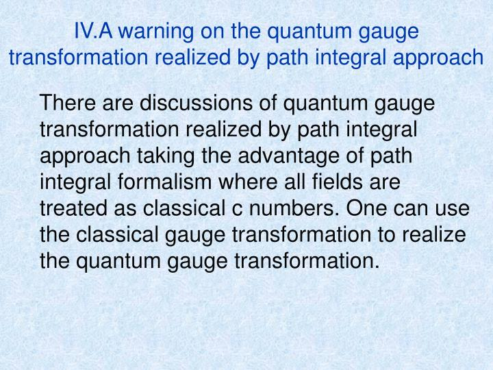 IV.A warning on the quantum gauge transformation realized by path integral approach