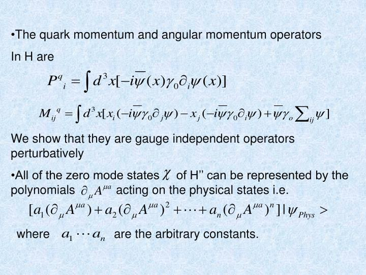 The quark momentum and angular momentum operators