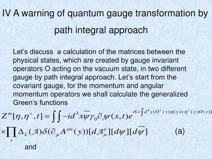 IV A warning of quantum gauge transformation by
