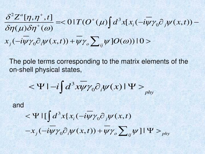 The pole terms corresponding to the matrix elements of the on-shell physical states,