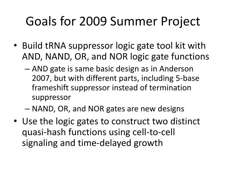 Goals for 2009 Summer Project