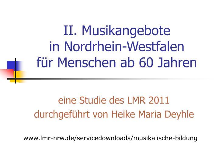 II. Musikangebote