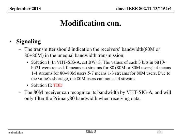 Modification con.