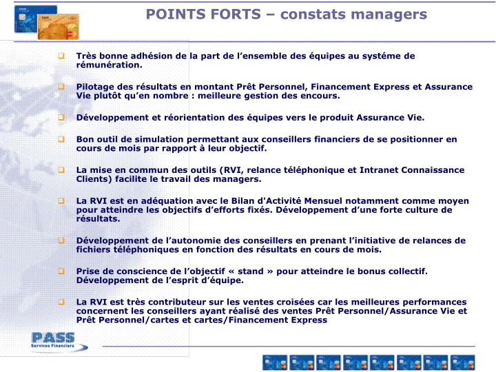 POINTS FORTS – constats managers