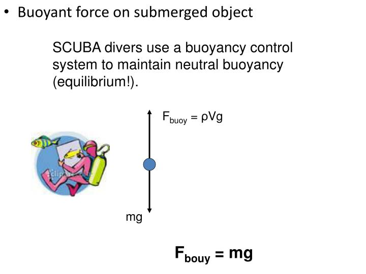 SCUBA divers use a buoyancy control system to maintain neutral buoyancy (equilibrium!).