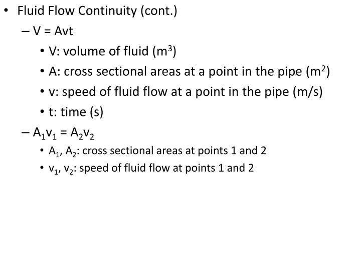 Fluid Flow Continuity (cont.)