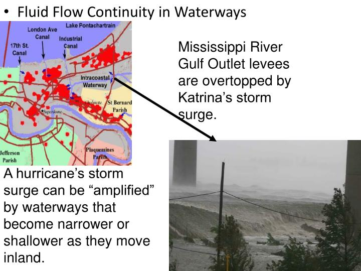 Mississippi River Gulf Outlet levees are overtopped by  Katrina's storm surge.
