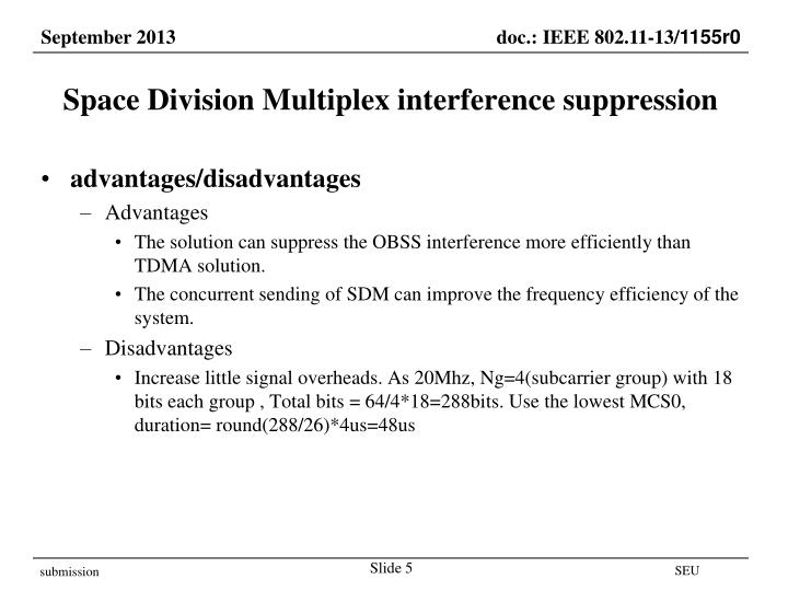 Space Division Multiplex interference suppression