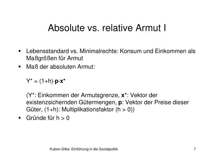 Absolute vs. relative Armut I