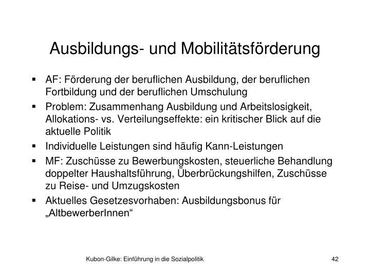 Ausbildungs- und Mobilitätsförderung