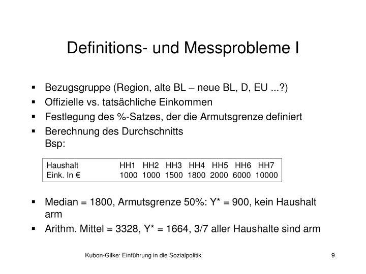 Definitions- und Messprobleme I