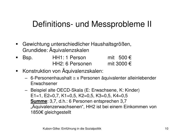 Definitions- und Messprobleme II