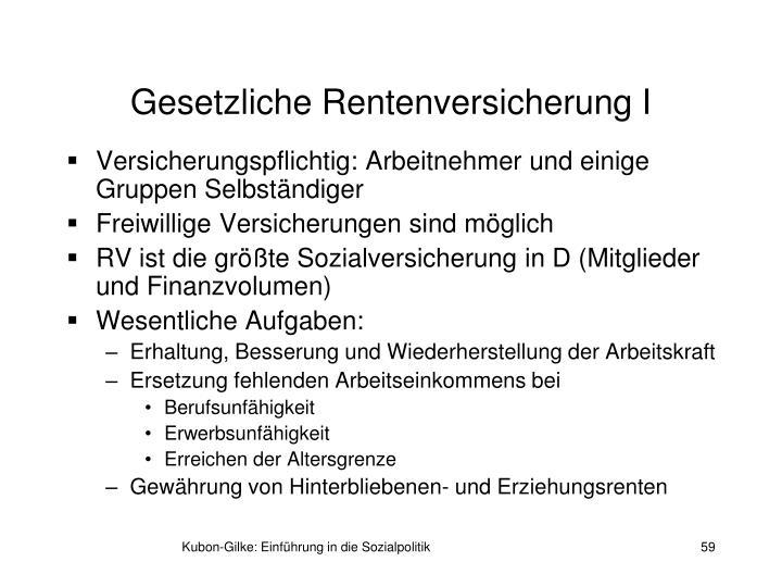 Gesetzliche Rentenversicherung I