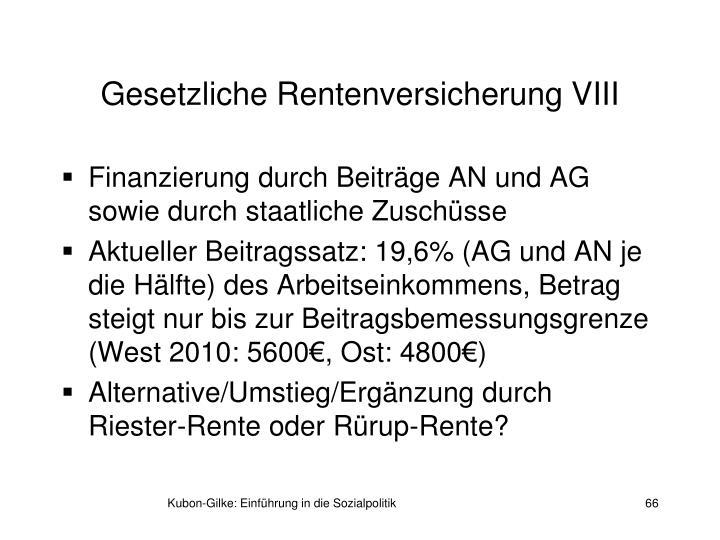 Gesetzliche Rentenversicherung VIII