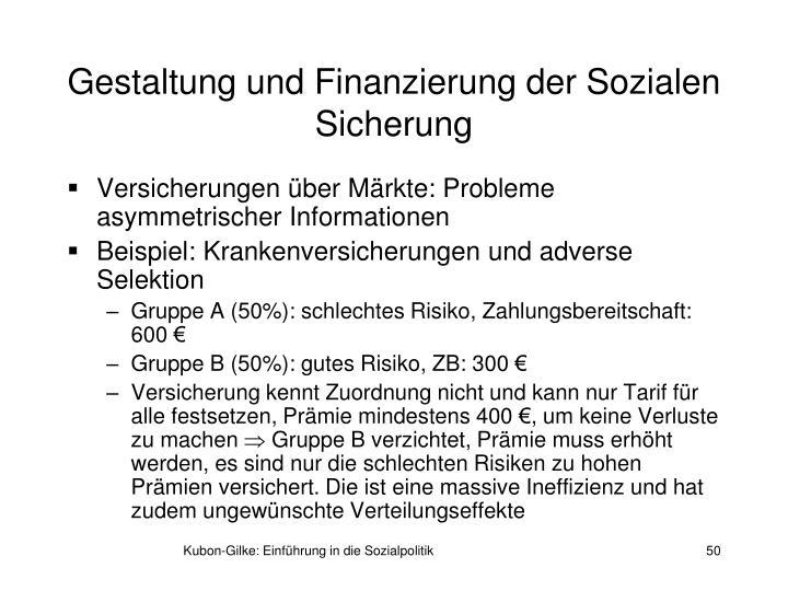 Gestaltung und Finanzierung der Sozialen Sicherung