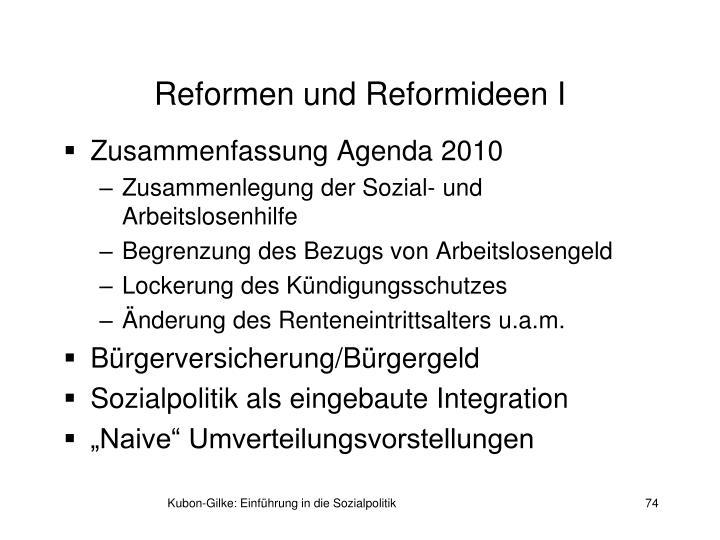 Reformen und Reformideen I