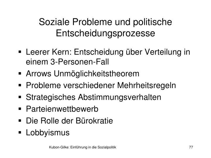Soziale Probleme und politische Entscheidungsprozesse