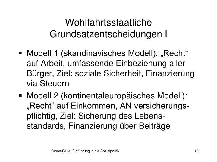 Wohlfahrtsstaatliche Grundsatzentscheidungen I