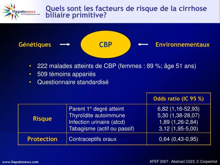 Quels sont les facteurs de risque de la cirrhose biliaire primitive?