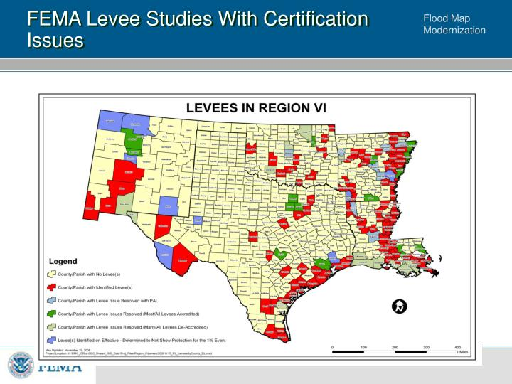 FEMA Levee Studies With Certification Issues