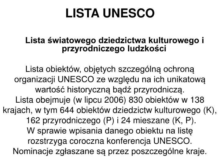 LISTA UNESCO