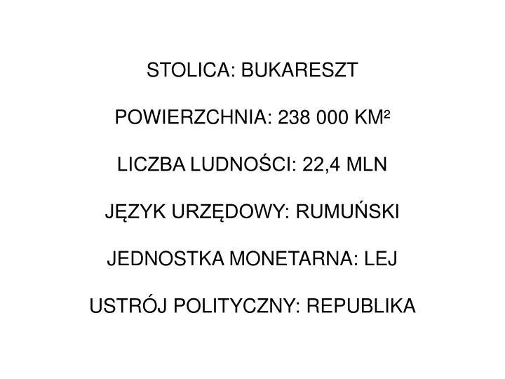 STOLICA: BUKARESZT