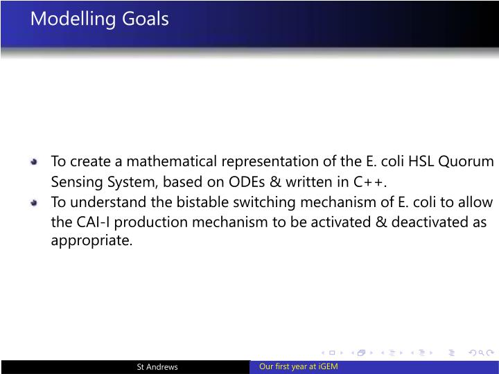 Modelling Goals
