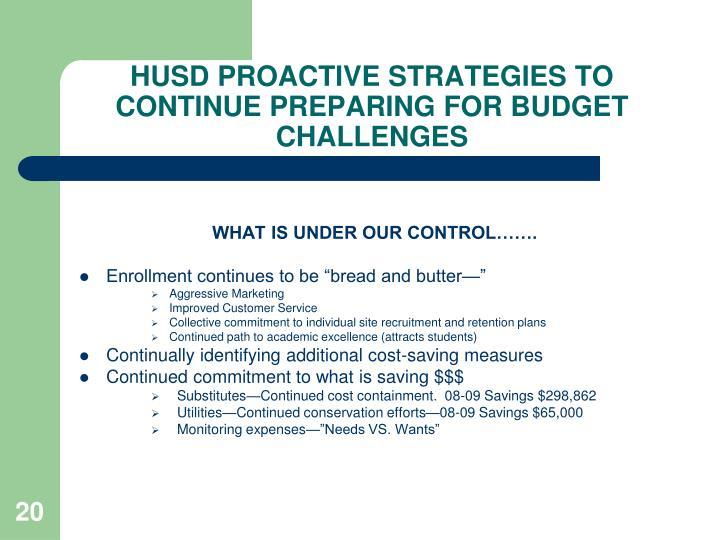 HUSD PROACTIVE STRATEGIES TO CONTINUE PREPARING FOR BUDGET CHALLENGES