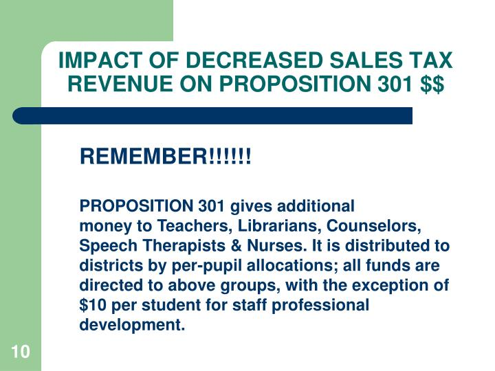 IMPACT OF DECREASED SALES TAX REVENUE ON PROPOSITION 301 $$