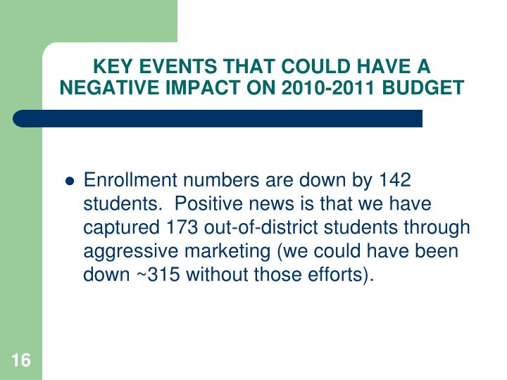 KEY EVENTS THAT COULD HAVE A NEGATIVE IMPACT ON 2010-2011 BUDGET