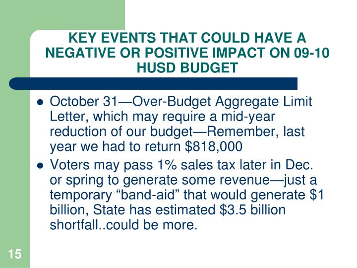 KEY EVENTS THAT COULD HAVE A NEGATIVE OR POSITIVE IMPACT ON 09-10 HUSD BUDGET