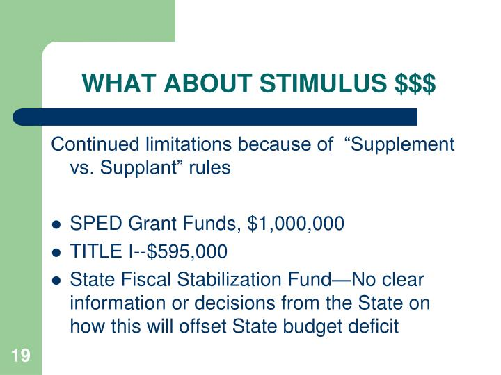 WHAT ABOUT STIMULUS $$$
