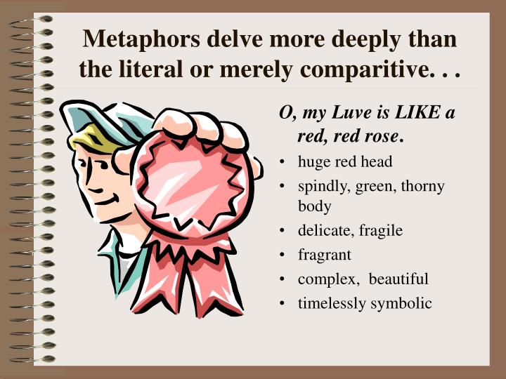 Metaphors delve more deeply than the literal or merely comparitive. . .