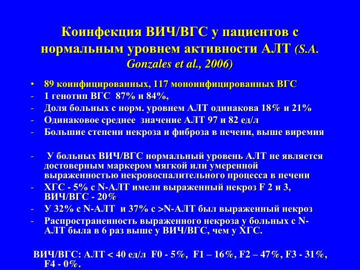 Коинфекция ВИЧ/ВГС у пациентов с нормальным уровнем активности АЛТ