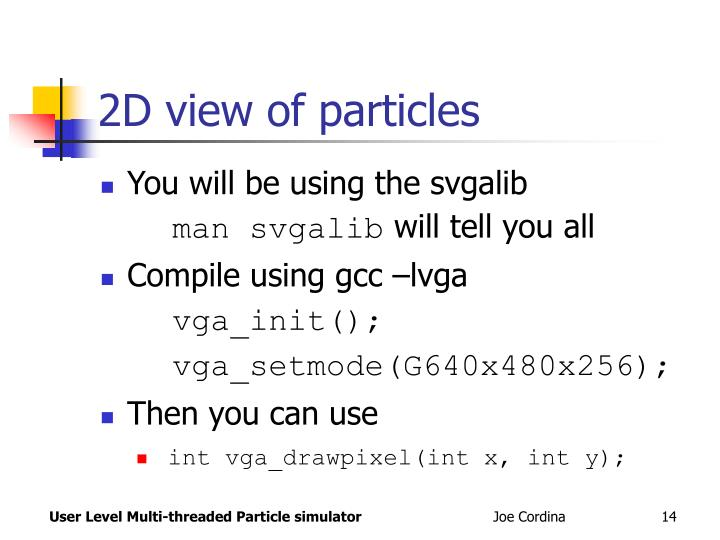 2D view of particles