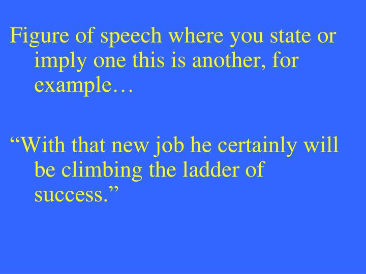 Figure of speech where you state or imply one this is another, for example…