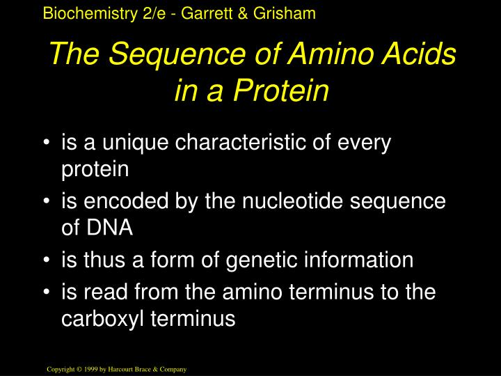 The Sequence of Amino Acids in a Protein