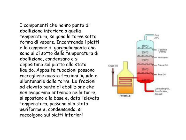 I componenti che hanno punto di ebollizione inferiore a quella temperatura, salgono la torre sotto forma di vapore. Incontrando i piatti e le campane di gorgogliamento che sono al di sotto della temperatura di ebollizione, condensano e si depositano sul piatto allo stato liquido. Apposite tubazioni possono raccogliere queste frazioni liquide e allontanarle dalla torre. Le frazioni ad elevato punto di ebollizione che non evaporano entrando nella torre, si spostano alla base e, data l'elevata temperatura, passano allo stato aeriforme e, condensando, si raccolgono sui piatti inferiori
