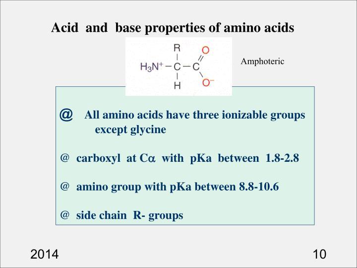 Acid  and  base properties of amino acids