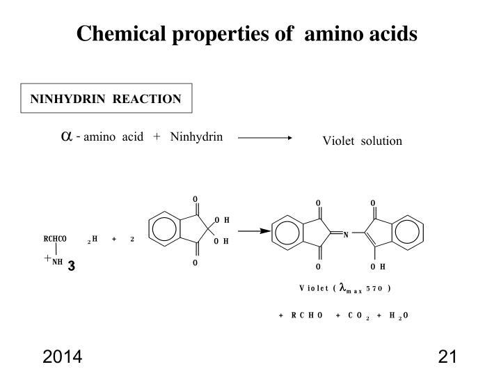 Chemical properties of  amino acids