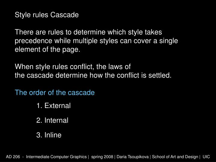 Style rules Cascade