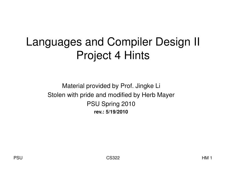 Languages and compiler design ii project 4 hints