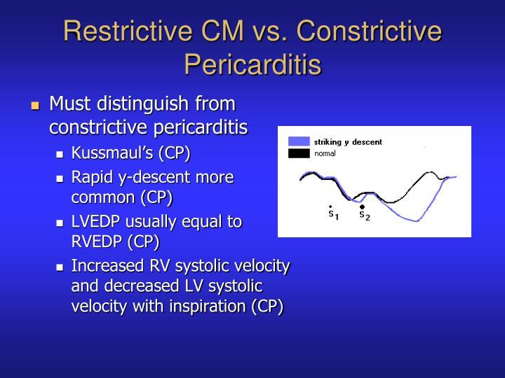 Restrictive CM vs. Constrictive Pericarditis