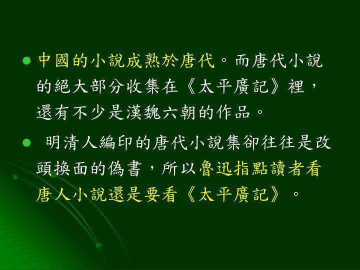 中國的小說成熟於唐代