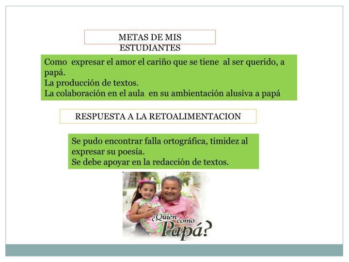METAS DE MIS ESTUDIANTES