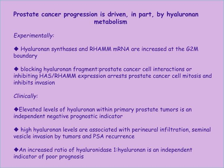 Prostate cancer progression is driven, in part, by hyaluronan        metabolism