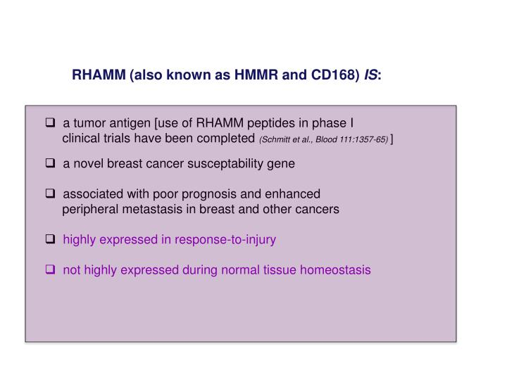 RHAMM (also known as HMMR and CD168)